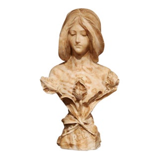 "19th Century French Marble Bust of Young Beauty With Floral Motif Titled ""Ireos"" For Sale"