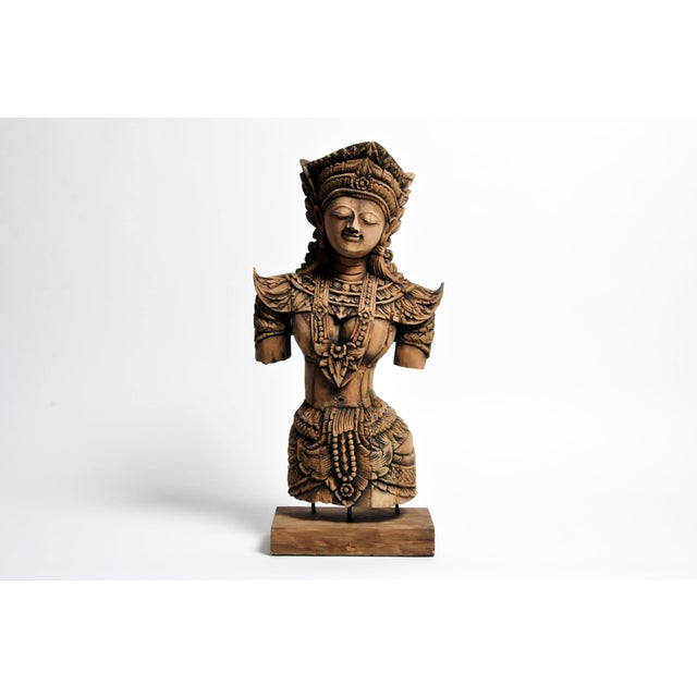 Southeast Asian Wood Carving Model of a Goddess For Sale - Image 13 of 13