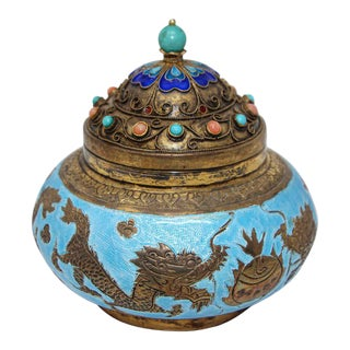 Chinese Export Brass Snuff Box with Turquoise Enamel Dragons and Beads Inlaid For Sale
