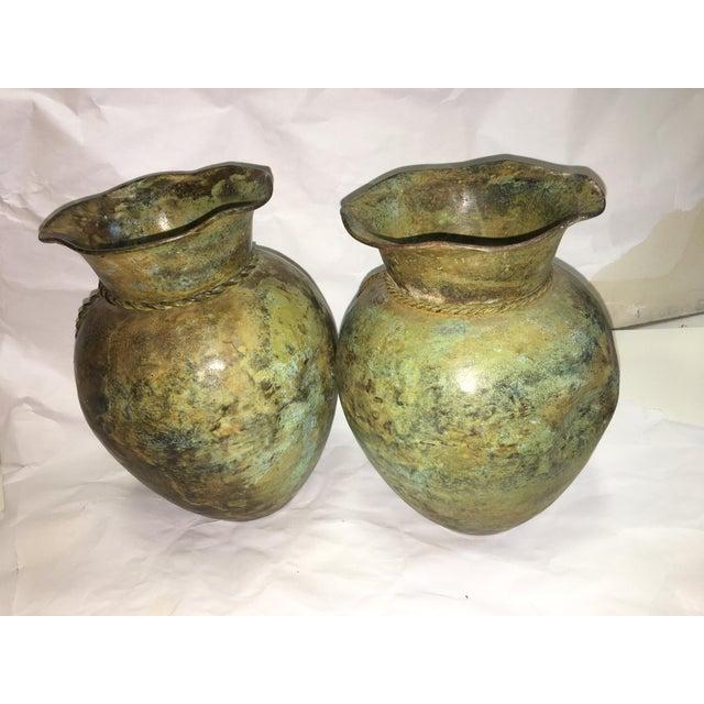 Antiqued Copper Finish Vases - A Pair - Image 5 of 7