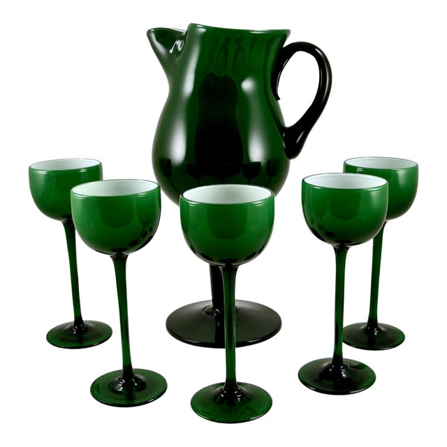 Carlo Moretti Mid Century Green and White Cased Pedestal Pitcher and 5 Wine Glasses For Sale