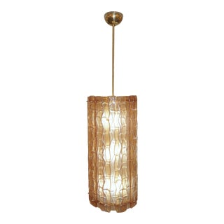 Italian Contemporary Amber Crystal Murano Glass Tall Brass Lantern / Chandelier For Sale