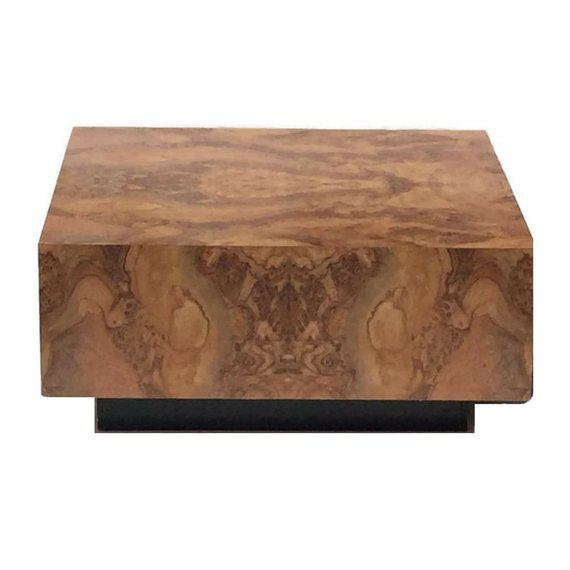 "Vintage Burl Wood Coffee Table Floating Cube Pedestal Cocktail Table - 36"" For Sale - Image 13 of 13"