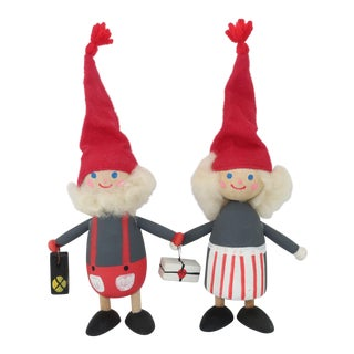 Vintage Swedish Whimsical Wood Holiday Figures - a Pair