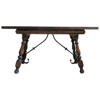 20th Century Spanish Console Fold Out Farm Table With Iron Stretcher For Sale
