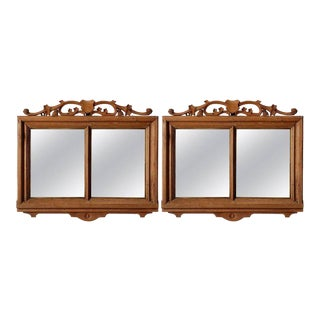 Pair French Bleached Double Pane Mirrors With Shield For Sale