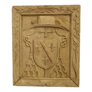 Antique Bleached French Bishops Coat of Arms Panel For Sale