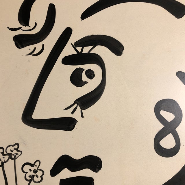Original Vintage Peter Robert Keil Abstract Face Painting For Sale - Image 4 of 6