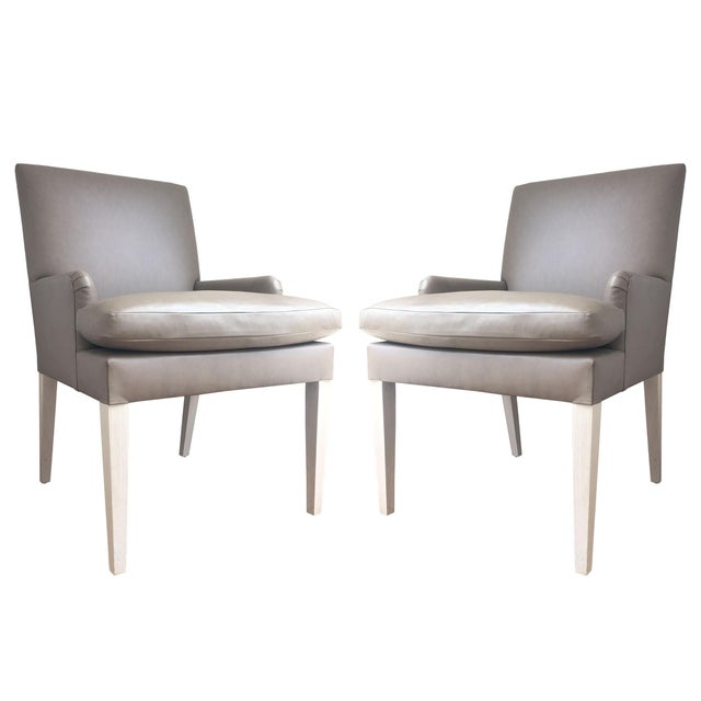 Contemporary Leather Accent Dining Chairs - Pair - Image 1 of 7