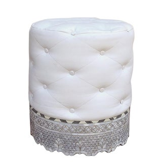 Contemporary Moroccan Mother of Pearl Inlay Stool