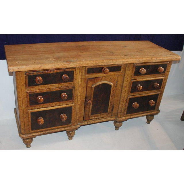 Rustic 19th C. Original Painted Multi Drawer Credenza / Apothecary For Sale - Image 3 of 13