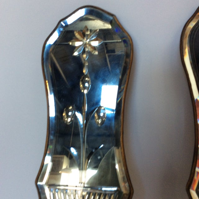 Cut Glass Mirrored Sconces - A Pair - Image 4 of 9