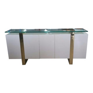 Lacquer & Brass Sideboard Floating Glass Top