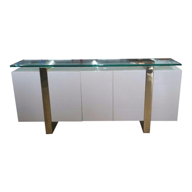 Lacquer & Brass Sideboard Floating Glass Top For Sale