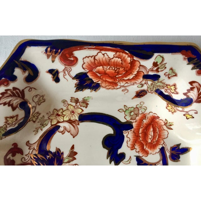 "Blue English Mason's Gaudy Welsh Ironstone Dish-""Mandalay"" For Sale - Image 8 of 10"