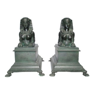 Late 19th Century Vintage Patinated Bronze Sphinx Statues- A Pair For Sale