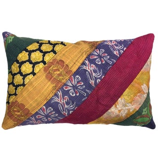 Bold Stripe Patchwork Kantha Lumbar Pillow For Sale
