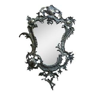 1980s Art Nouveau Portuguese Aluminum Scrolling Mirror