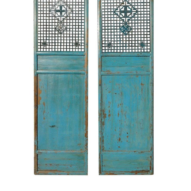 Asian Antique Pair Chinese Tall Blue Flower Carving Screen Panels For Sale - Image 3 of 7