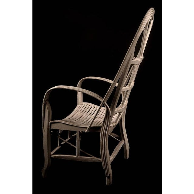 Pair of Large Elegant White Cane Conservatoire Chairs - France, early 20th Century - Image 7 of 8