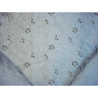 Traditional Kravet Couture Embroidered Vine Prussian Drapery Upholstery Fabric - 7-1/4y For Sale