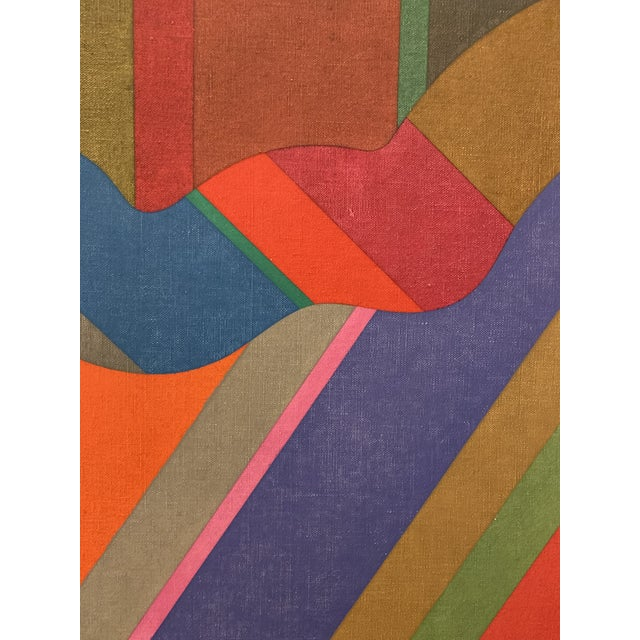 Large 1970s Graphic Hardedge Geometric Painting by Roland Ginzel For Sale - Image 10 of 12