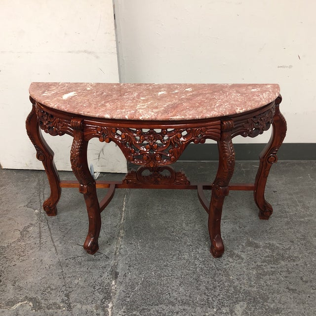 Marble Top Demilune Console - Image 2 of 8