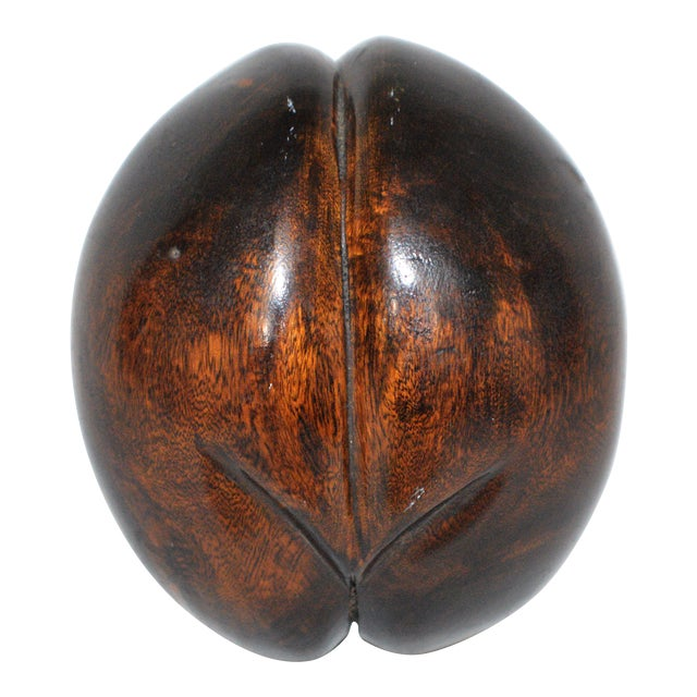 Faux Coco De Mer Double Coconut Seed Solid Wood Sculpture For Sale