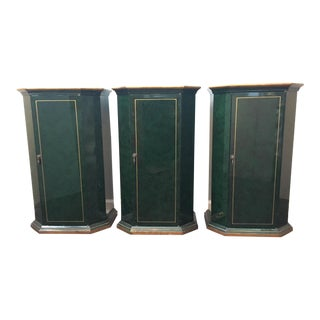 Art Deco Faux-Malachite Cabinets - Set of 3 For Sale