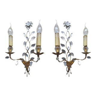 Maison Baguès 1940s Genuine Extremely Refined Pair of Floral Gold Leaf Sconces For Sale