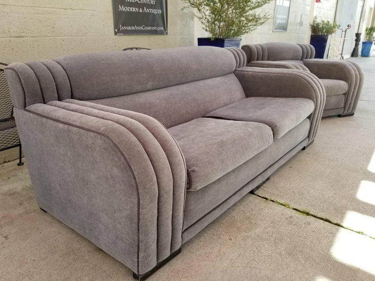 Bon French Art Deco Sofa And Club Chair Set   Set Of 4   Image 3 Of