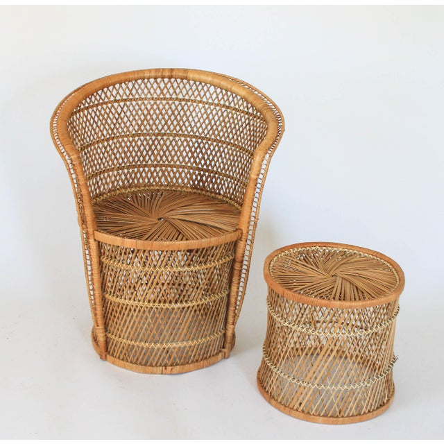 Boho Style Wicker Chair and Table For Sale - Image 10 of 10