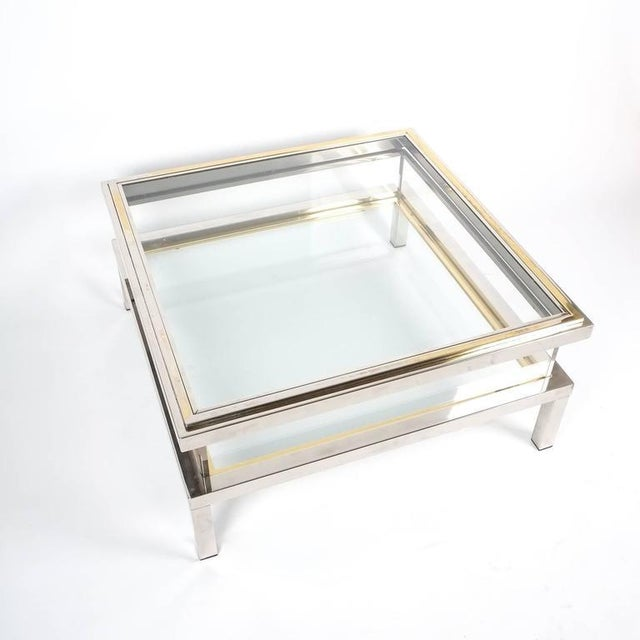 Brass Refurbished Maison Jansen Brass and Chrome Coffee Table with Interior Display For Sale - Image 7 of 8