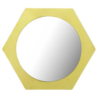 La Barge Hexagonal Solid Brass Frame Mirror. For Sale