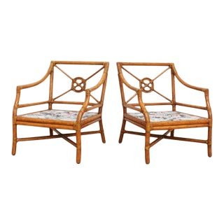 McGuire Target Back Bergere Rattan & Rawhide Chairs - A Pair For Sale
