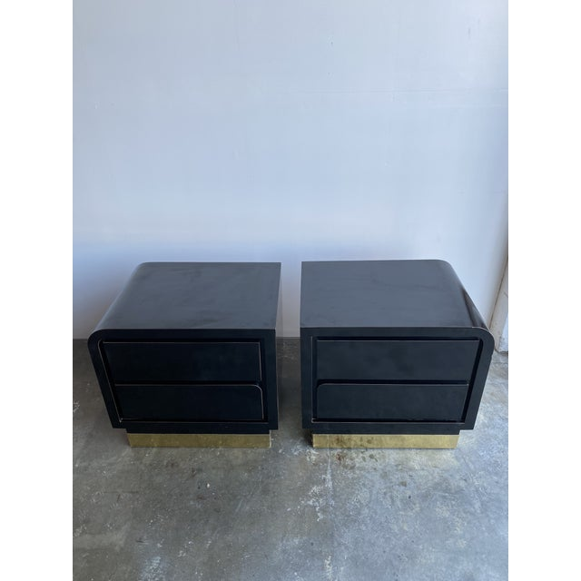 Memphis 1980s Black Laqcuer and Brass Nighstands-a Pair For Sale - Image 3 of 12