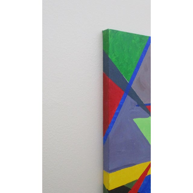 Abstract Abstract Hard Edge Acrylic Painting on Canvas For Sale - Image 3 of 9