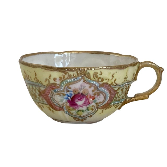19th Century Antique Hand Painted Floral Tea Cup For Sale - Image 5 of 5