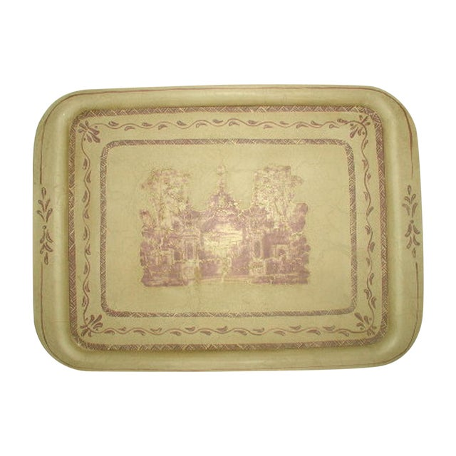 Signed & Hand Painted French Trompe L'oeil Tray For Sale