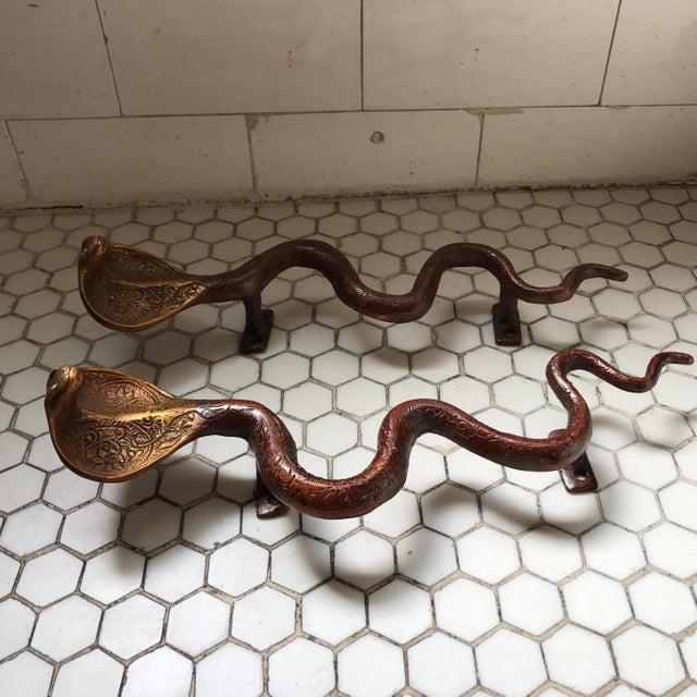 Hollywood Regency Brass Cobra Door Handles- a Pair - Image 7 of 11