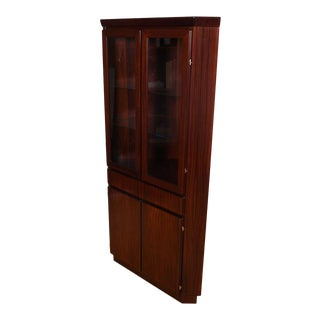 Danish Rosewood Corner Display Cabinet W/ Light For Sale