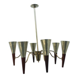 Italian Stilnovo Style Brass And Teak Chandelier