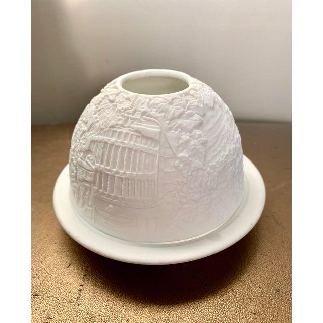 Classic cityscape design Limoges porcelain dome votive from Bernardaud France. Vintage, no longer in store. Box not...