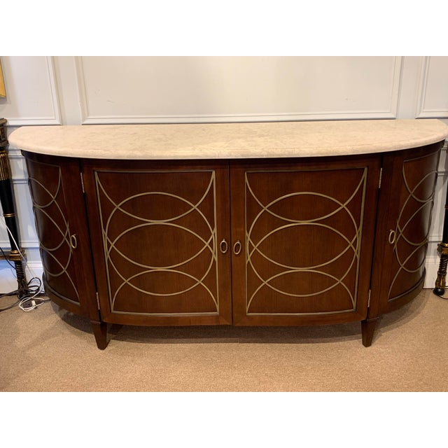 Metal Duchamp Demilune Sideboard With Satillia Marble Top, by Hickory Chair Furniture For Sale - Image 7 of 12