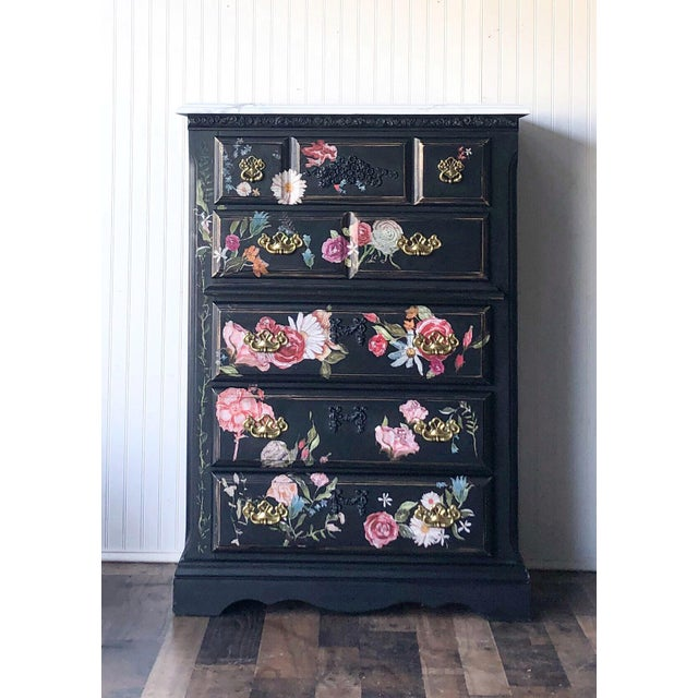 Tall Midnight Floral Storage Dresser Chest With Pinstriped Siding and Faux Marbleized Top For Sale - Image 12 of 12