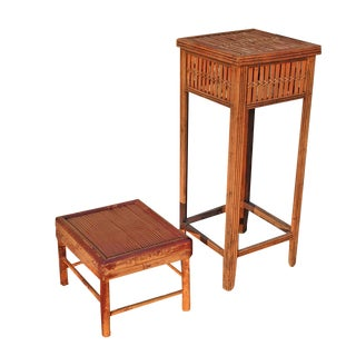 1970s Asian Split Tortoise Bamboo and Rattan Wooven Wood Slat Plant Stand Display Tables - Set of 2 For Sale