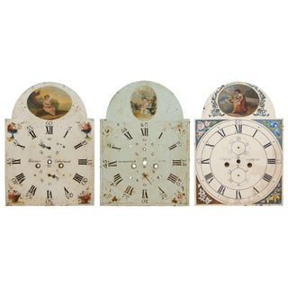 Three English Painted Metal Break-Arch Clock Faces For Sale