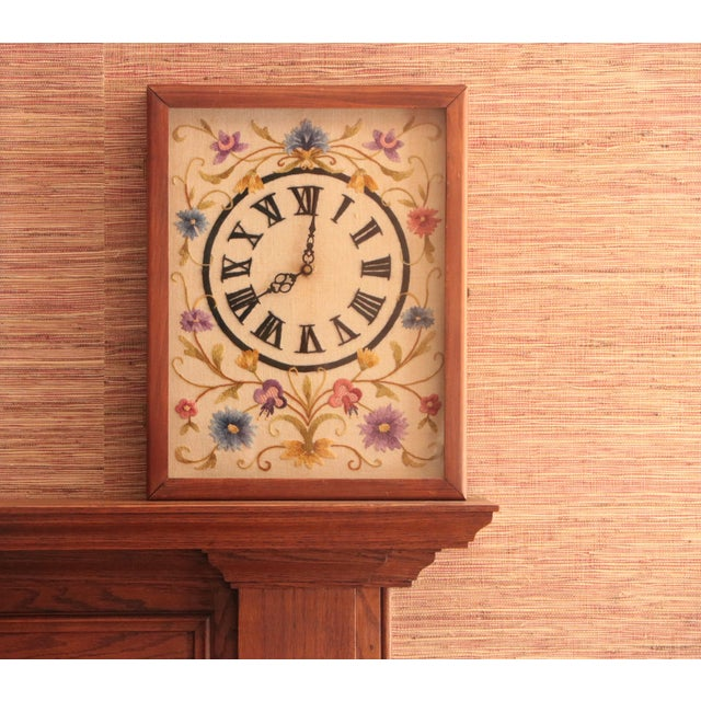 Jacobean Floral Crewel Embroidery Clock For Sale - Image 4 of 8