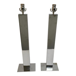 Mid Century Modern Tall Chrome Lamps by George Kovacs - a Pair For Sale