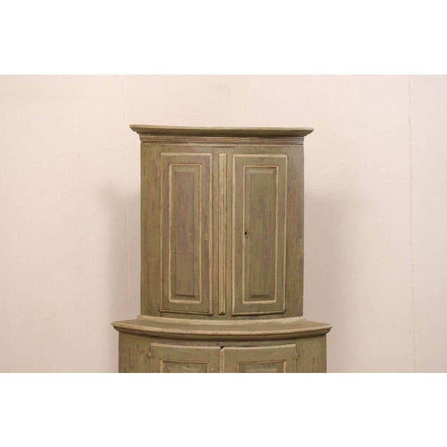 18th Century Antique Gustavian Swedish Painted Wood Corner Cabinet For Sale - Image 4 of 12